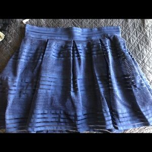 Navy tool/lace high waisted skirt